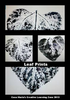 "Leaf prints by Casa Maria's Creative Learning Zone - I like the black & white element ("",)"