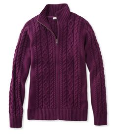 Double L Mixed Cable Sweater, Zip-Front Cardigan