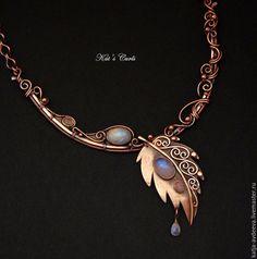 Copper necklace / Купить Медное колье ПОСЛЕ ДОЖДЯ с лунными камнями - медное…