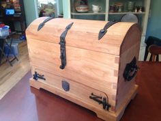 """Patty Bagley made this gorgeous cherry chest in """"Traditional Chest and Hardware"""" with Pat McCarty & Bob Alexander at the John C. Campbell Folk School 