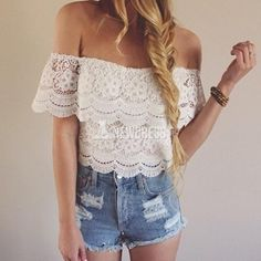 Sexy Summer Women\'s Lace Crochet Tops Off Shoulder T-Shirt Casual Blouse New