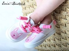 Childrens bunny shoes - Pink on white hand painted bunnies with a little pink cotton tail - for girls, baby, infant, toddler