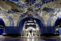 Beautiful painted ceiling of the Swedish subway