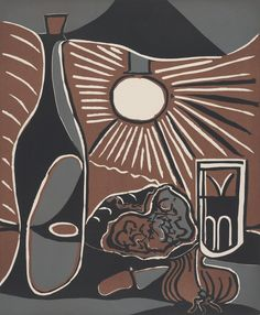 Pablo Picasso  Still-Life with Lunch I  1962  Linocut in maroon (reddish-brown), gray, and black on cream wove paper 64.1 x 53 cm (image/block); 75.5 x 62.4 cm (sheet)  The Art Institute of Chicago, gift of Frederick Mulder, 2008.553