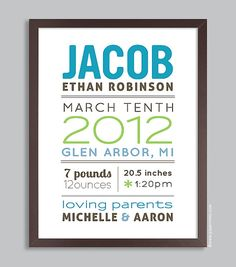 Custom Birth Announcement Wall Art 11x14 Nursery by papermintsshop, $36.00
