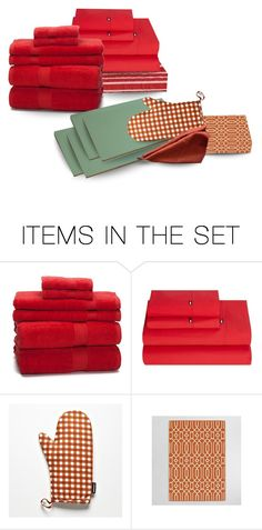 """""""After Dinner Ari Wanted Maria to Open Presents…Doc & Mo Got Them Sheets, Towels & a Striped Shower Curtain…Fred & Em Picked Out a Tablecloth, Dish Towels & Oven Mitts in Terra Cotta for the Kitchen & Breakfast Nook, & Green Placemats for the Dining Room"""" by maggie-johnston ❤ liked on Polyvore featuring art, dining room and kitchen"""