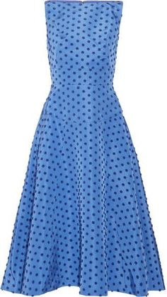 Lela Rose - Flocked Silk-faille Midi Fashion Dress - Blue The bold, saturated colors… - https://www.luxury.guugles.com/lela-rose-flocked-silk-faille-midi-fashion-dress-blue-the-bold-saturated-colors/