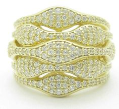 Pave White Sapphire 18KT Yellow Gold over 925 Solid Sterling Silver Wide Band Ring Sizes 7-9