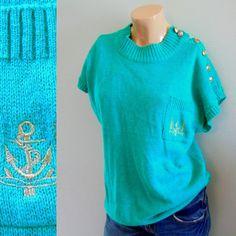 aqua anchor cotton sweater . gold button shoulders . sleeveless or short sleeve . vintage sz m l - buy it at www.nesteggvintage.etsy.com