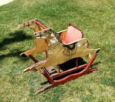 Antique Double Rocking Horse Glider, Americana, Folk