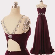 RightBrides 55080 | Burgundy Prom Dresses 2017, Lovely High Quality Maroon Long Chiffon Beaded Prom Dresses, Prom Gowns, Evening Dresses