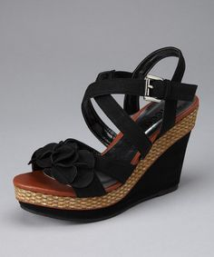 Take a look at this Black Almeda Wedge by Summer Shoes Collection on #zulily today!