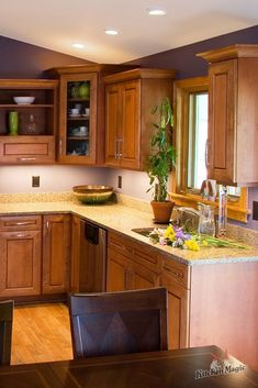 The right wall-color can really make your kitchen cabinets pop! This kitchen does a great job of contrasting the on-trend color of violet, with warm -toned Hard Maple cabinets. Maple Kitchen Cabinets, Cherry Cabinets, Best Wall Colors, Cool Kitchens, Colorful Kitchens, Kitchen Design, Kitchen Decor, Kitchen Paint Colors, Home Remodeling