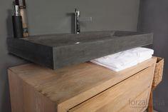 Forzalaqua Waschbecken Bellezza aus Naturstein, Bluestone, 120,5 x 51,5 x 9 cm, mit 1 Hahnloch,
