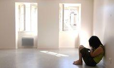 woman alone room