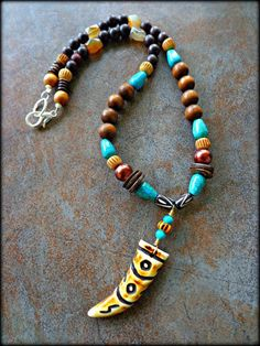 Mens Tribal Necklace Mens Bone Horn Pendant by KheperaAdornments ~ $47