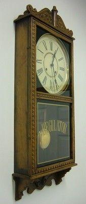 Antique Waterbury 8 Day Time Strike Schoolhouse Regulator Office