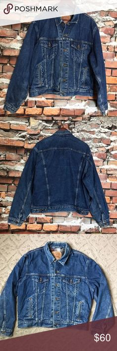 "Levis Flannel Lined Denim Jean Sample Jacket L 44 Levis Flannel Lined Denim Jean Trucker Button Down Sample Piece Jacket Large 44  *Normal signs of wear and wash (fading) and red pocket tab has been cut off.  Measurements: 46"" Chest 24"" Length Levi's Jackets & Coats"