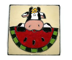 Black and white cow painting - Slice of watermelon and cow de la boutique LULdesign sur Etsy
