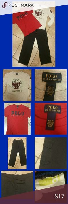 *** RALPH LAUREN POLO OUTFIT~10/12 *** Nice, preowned boys outfit. Includes 2 Ralph Lauren Polo shirts:1 white long sleeve, & 1 red short sleeve. & 1 pair of Crazy 8 navy blue pants.  The pants have a stretch waist band w/tie string & cargo pockets. Your little man can switch out shirts to have 2 outfits. ;) My son took a growth spurt & these are hardly worn at all. Awesome condition. Thanks for stopping in, & be sure to check out my closet for other items you might like. Bundle to save. ;)…