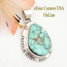 Four Corners USA Online - Dry Creek Turquoise Sterling Pendant by Native American Navajo Jane Francisco NAP-1491, $132.00 (http://stores.fourcornersusaonline.com/dry-creek-turquoise-sterling-pendant-by-native-american-navajo-jane-francisco-nap-1491/)