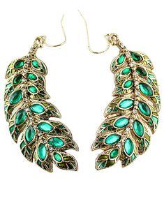 Elegant Leaf Crystal Design Alloy Drop Earring - Sheinside.com $9.64