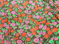 Vintage Early 1970s Fun Fabric Pink Roses by RebeccasVintageSalon, $6.00