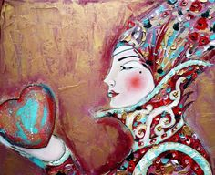 The Queen of Heart From the series ''All about love'' (Oil on canvas) (30cmx25cm)
