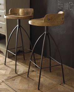 Henson Wood/Iron Swivel Barstool
