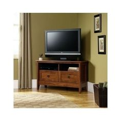 Sauder Corner Media Entertainment Center Tv Stand Oak Finish Hidden Storage New