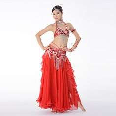 Madeline Top bellydance tribal fusion belly dance Red Sparkle Stripe