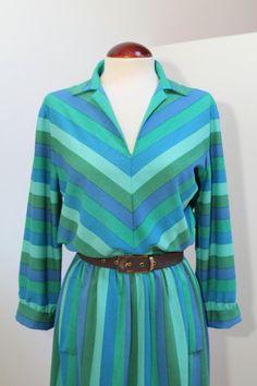 Vintage 80s Striped Dress por Laimperdible en Etsy