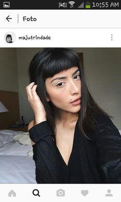 It girl: maju trindade Hair Day, New Hair, Hair Inspo, Hair Inspiration, Hairstyles With Bangs, Cool Hairstyles, Fringe Haircut, Short Bangs, Love Your Hair
