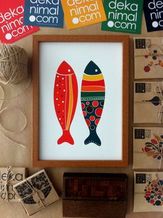 Colorful Fish Print Red and Navy Illustration Art Print Animal Children decor, Kids Room, Wedding Birthday Anniversary Gifts. $18.00, via Etsy.