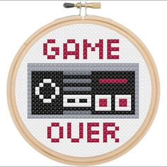 Game Over Controller Cross Stitch DIY Kit, Pattern and Instructions