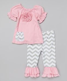 Another great find on #zulily! Pink Rosette Top & Gray Ruffle Pants - Infant, Toddler & Girls by Tutu AND Lulu #zulilyfinds
