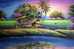 ❥●❥ ♥ ♥ ❥●❥ Nature Paintings, Landscape Paintings, Watercolor Paintings, Scenery Pictures, Landscape Pictures, Cuban Art, Art Village, Nature Drawing, Tropical Art