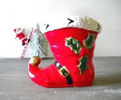 Ceramic Santa Boot Christmas Decoration by MomsantiquesNthings