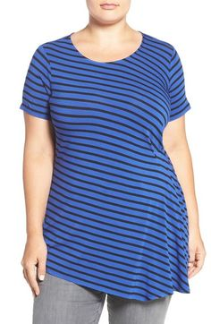 Vince Camuto Side Pleat Asymmetrical Stripe Top (Plus Size) available at #Nordstrom