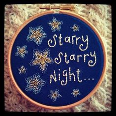 Starry night embroidery hoop
