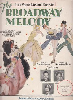 You Were Meant for Me 1929 Sheet Music The Broadway Melody Bessie Love Anita Page
