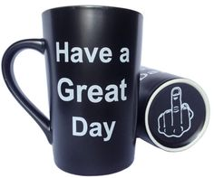 MAUAG Funny Christmas Gifts Funny Ceramic Coffee Mug Have a Great Day with Middle Finger on the Bottom Funny Porcelain Cup Red Best Office Cup Birthday Gag Gifts 13 Oz by LaTazas *** Check out this great product. (This is an affiliate link) 16 Oz Coffee Mugs, Unique Coffee Mugs, Funny Coffee Mugs, Coffee Humor, Funny Mugs, Funny Gifts, Coffee Cups, Funny Christmas Gifts, Unique Christmas Gifts