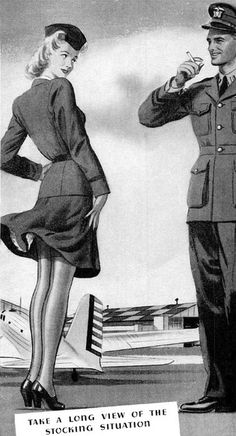 """Take a long view of the stocking situation"" ~ WWII era ad for Van Raalte Hoisery, 1942.  ~Repinned Via Cathy Patzlaff"