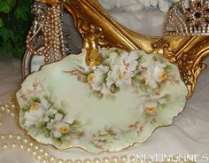 Limoges - France - Tray - Hand Painted - Antique White Tea Roses - Gilded Handle - Signed by E. Thomas - (AKA Ester Miler) - Only Fine Lines