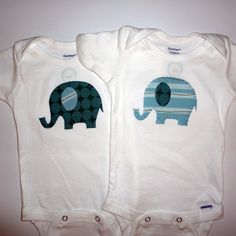 Elephant Twins Set Applique Onesies by niteowldesigns1 on Etsy