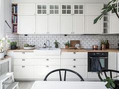 white kitchen inside of swedish apartment