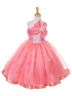 Coral Satin and Organza Asymmetrical Girls Pageant Dresses in Size 2-12 in 7 Colors