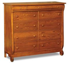Amish Old Classic Sleigh Eleven Drawer Double Chest of Drawers Elegant bedroom storage offers ample room with 11 drawers. Sleigh like curves make this beauty a warm and cozy addition to master bedroom or guest room. #bedroom #storagechest