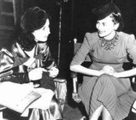 Gone With the Wind; behind the scenes photos: candid shot of Vivien and Olivia.
