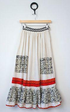 VINTAGE 1970s floral high waisted folk skirt | Hippie patchwork cotton maxi…